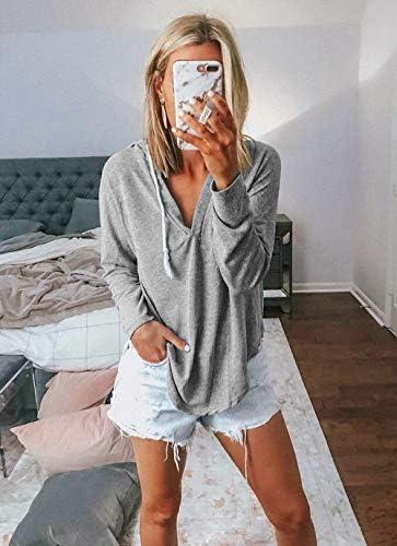 Kirundo 2021 Women's Deep V Neck Hoodie Long Sleeves Solid Color Drawstring Belt Sweatshirt Loose Tops Blouses