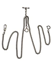 Pocket Watch Chain Double Albert T-Bar - SIBOSUN Antique 29 Inch Chains Bronze Vest Waistcoat