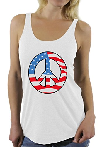 Awkward Styles Women's Peace Flag Patriotic Racerback Tank Tops American Flag Peace Sign White (Peace Sign Womens Tank Top)