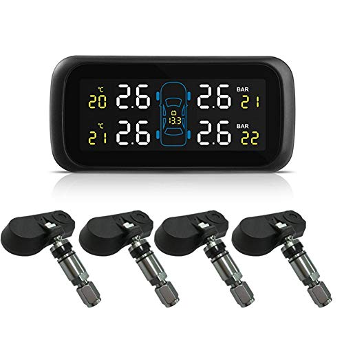 Jungles Universal Tire Pressure Monitoring System with Color Display Car Cigarette Lighter Power Internal Anti-Theft Sensors Real-time Highly Accurate Car TPMS Tire Pressure Monitor