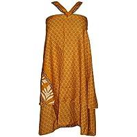 Women's Wraps Skirt Yellow Two Layer Reversible Silk Sari Boho Long Skirt