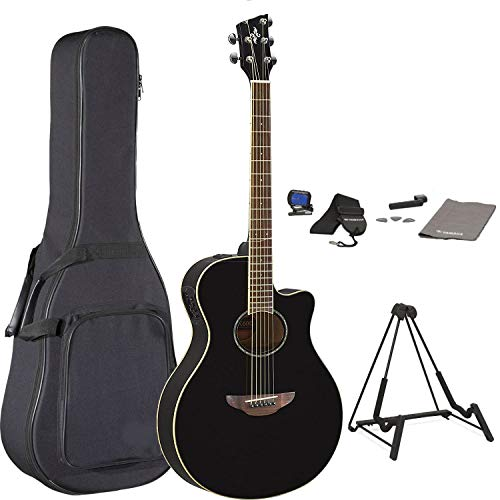 (Yamaha APX600 Thinline Cutaway Acoustic-Electric Guitar Bundle With Gig Bag, Guitar Stand, Tuner, Strap, Guitar Picks, String Winder, and Polishing Cloth)