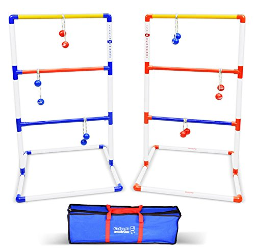 GoSports Premium Ladder Toss Outdoor Game Set with 6 Bolo Balls, Travel Carrying Case and Score -