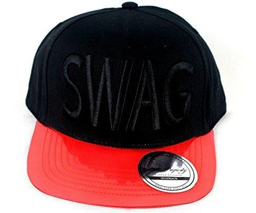 SWAG Negro/Rojo Gorra de tapas, transparente plana pico Dope ...