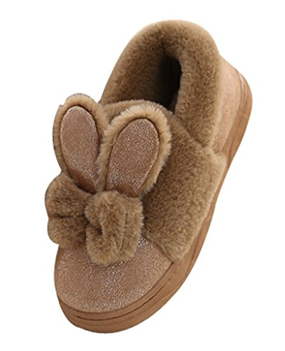 Cattior Womens Footcoverings Warme Konijntjeslipper Schoenen Fuzzy Slippers Kaki