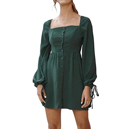 baskuwish Womens Vintage Dress 1970s 1980s Elegant Camisole Long Sleeve Square Neck Mini Dress Button Pocket Retro Dress (Green, (1980's Womens Mini)
