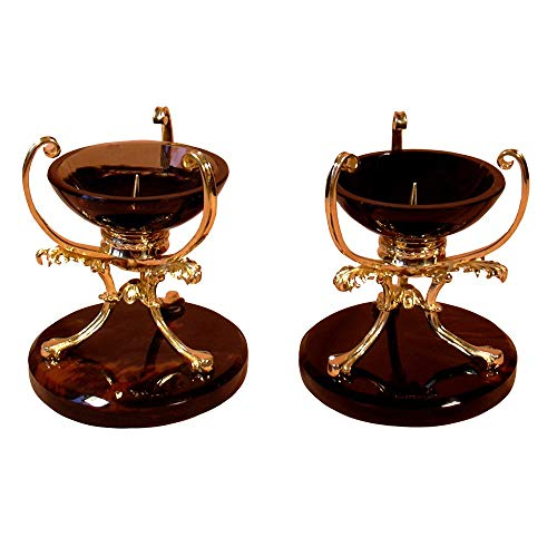 Luxurious candle holders made from obsidian and brass  handmade home decor   price for pair   handmade stone candlesticks