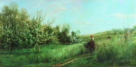 'Charles-Franois Daubigny-Spring Landscape,19th Century' Oil Painting, 30x60 Inch / 76x153 Cm ,printed On High Quality Polyster Canvas ,this Vivid Art Decorative Canvas Prints Is Perfectly Suitalbe For Bathroom Artwork And Home Artwork And Gifts