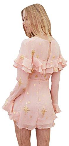 For Love & Lemons Women's Gilded Star Mini Dress In Rosegold, m by For Love & Lemons (Image #1)
