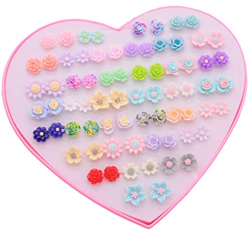 36 Pairs Rose Daisy Assorted Stud Earring Sets For Women Girl ()