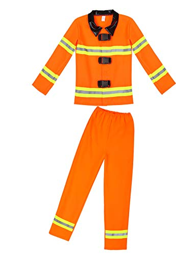 Famajia Firefighter Children's Halloween Dress Up Theme Party Roleplay Costume Orange -