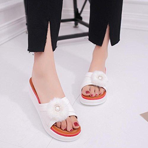 Hunpta Frauen Sommer Schuhe Hausschuhe Flat Heels Flip Flops Damen Bohemia Sandalen Weiß