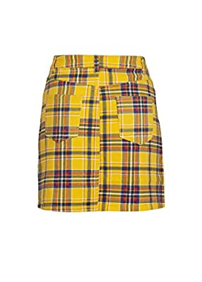 Womens Yellow Plaid Tartan Punk Rock Mini Skirt