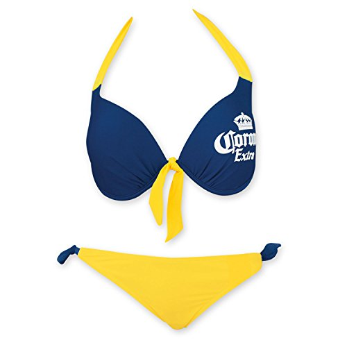Corona Extra Women's Front Tie Underwire Push Up Side Tie Bottom Bikini Large Blue