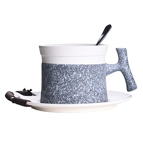 qwert Teacup,Tea set Coffee cup Ceramic coating Household [office] Breakfast cup Capacity 160ml 1 cup 1 plate 1 spoon-A -