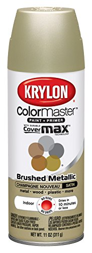 Krylon K05125307 ColorMaster Paint + Primer, Brushed Metallic, Satin, Champagne Nouveau, 11 oz. (Catalina Brushed Brass)