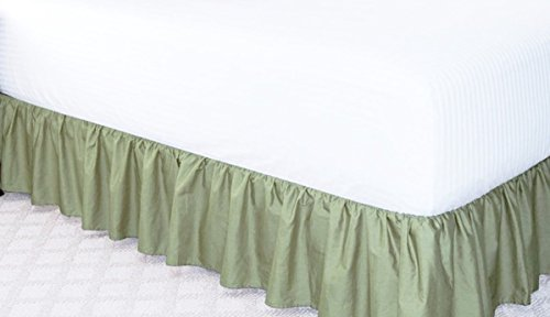 Gorgeous Home LinenDifferent Colors & Sizes Bed Bedding Skirt King/Cal-King/Queen/Twin/Full Soft 100% Soft Smooth Microfiber Pleated-Only on 4 Edges (Full, Sage Green)