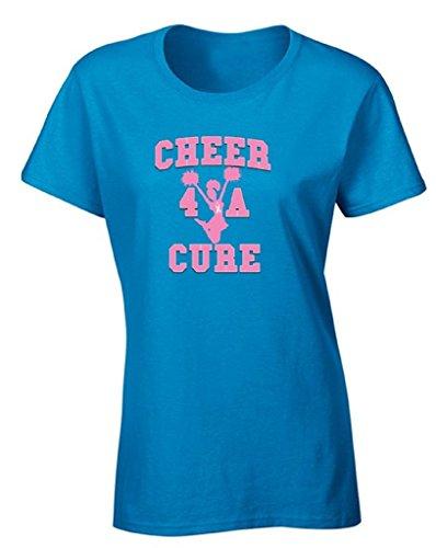 icustomworld Women's Cheer 4 A Cure T-shirt Breast Cancer Cheerleading Shirt L Blue