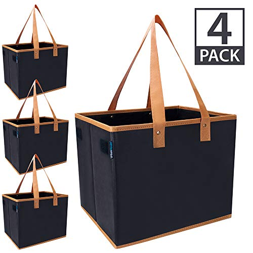 Urban House AUH-SB4BK Large Collapsible Grocery Shopping Tote Box with Reinforced Bottom, 14
