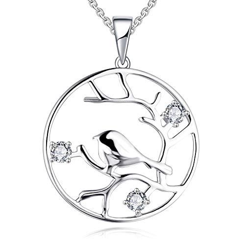 (JO WISDOM 925 Sterling Silver Cubic Zirconia Hummingbird Flying in Twig Pendant Necklace)