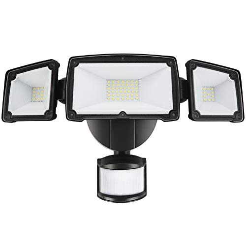 39W LED Security Lights Motion Outdoor 3000 Lumen 5000K BBOUNDER Motion Sensor Lights Waterproof IP65 ETL Certificated 3-Head Adjustable Flood Light for Entryways Stairs Yard and Garage