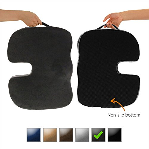 Dr. Ergo | Chiropractor Grade | Firm Orthopedic Memory Foam Seat Cushion | Coccyx, Tailbone and Sciatica Pain Relief | Non Slip Back Support Pillow for Office Chair, Car Seat - Hut Dr