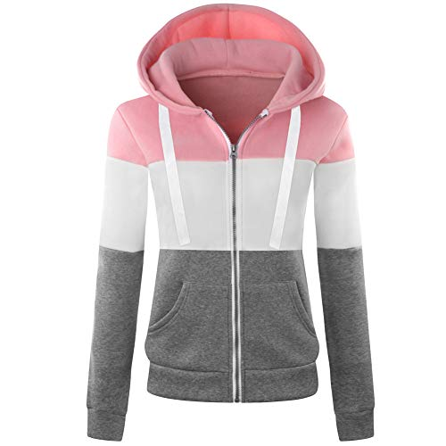 (Newbestyle Women's Casual Color Block Jersey Full Zip Fleece Hoodie Jacket with Pocket Pink and Gray 2XL)