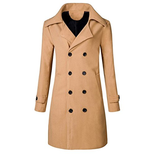 New Ralph Lauren Khaki (Hot!Men Winter Warm Jacket Overcoat Slim Long Trench Buttons Coat 3 Colors Outwear-Todaies (3XL, Khaki))