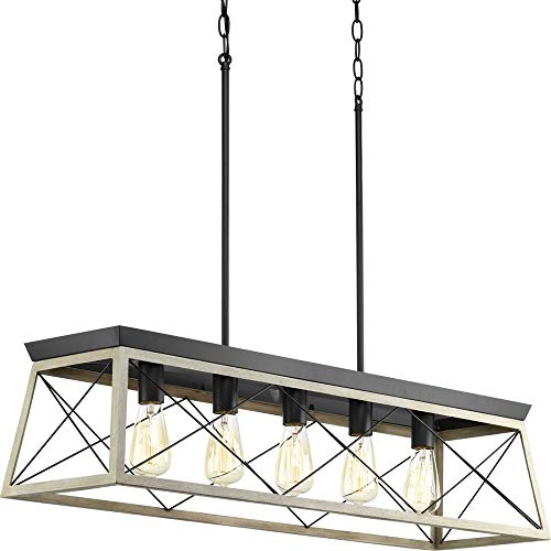 Graphite Finish Bar - Progress Lighting P400048-143 Briarwood Graphite Five-Light Linear Chandelier,