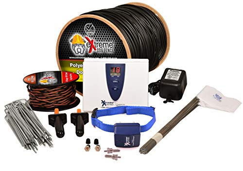Electric Dog Fence Stubborn Dog - 1-Dog 500' of Pro Grade Heavy Duty 14 Gauge Boundary Wire for 1/3 Acre Pet Fence and 8 Correction Levels to Accommodate Larger, More Stubborn Dogs