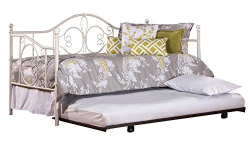 (Hillsdale Furniture Hillsdale 1687DBLHTR Ruby Suspension Deck and Roll Unit, Textured White Daybed with Trundle, 44.25