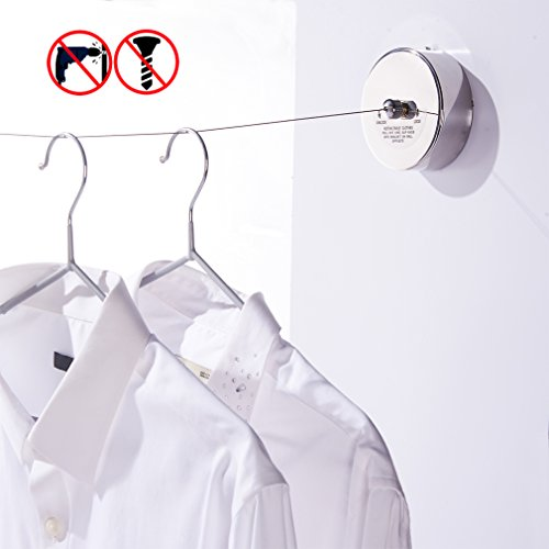 BESy SUS304 Stainless Steel Clothesline Retractable Clothes Dryer Self Adhesive (Drill Free) with Adjustable Pulley and Braided Stainless Steel Wire Hotel Style,9.2 Feets,Polished Finish, Round Style - Pulley Clothes Dryer