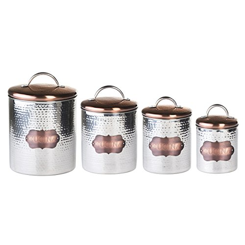 Global Amici Cucina Hammered Metal Canisters