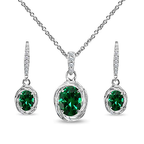Sterling Silver Simulated Emerald & Cubic Zirconia Oval Love Knot Leverback Earrings & Pendant Necklace Set