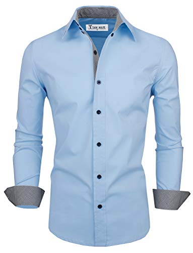 TAM WARE Mens Classic Slim Fit Contrast Inner Long Sleeve Dress Shirts TWNMS314-1-317-SKY-US XL