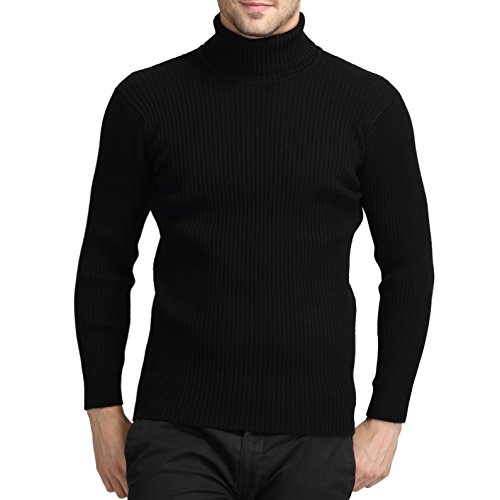 (Mens Casual Wool Cashmere Knitted Sweater Long Sleeve Turtleneck Pullover Tops (Black,)