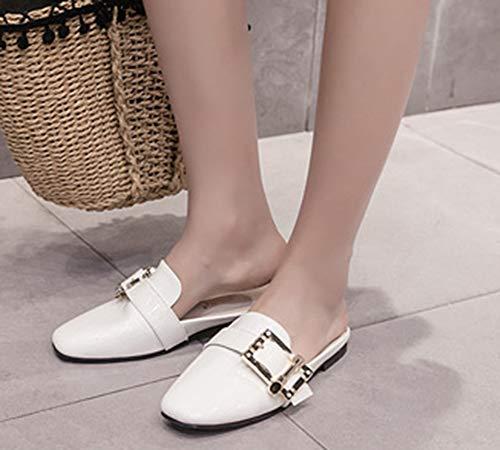 Mules Femme Plates Chaussures Mode Aisun Carré Blanc Bout Métal wfdx00TSq