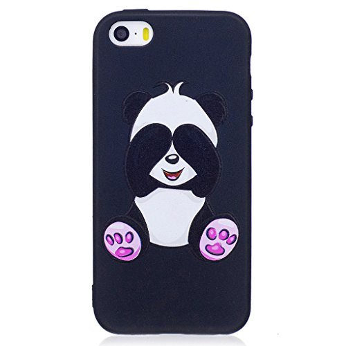 Crisant Case Cover For Apple iPhone 5 5S / SE,3D Panda timide Premium gel TPU souple silicone protection Housse arrière coque étui Pour Apple iPhone 5 5S / SE