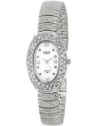 Burgi Womens BUR070SS Diamond Oval Quartz Bracelet Watch