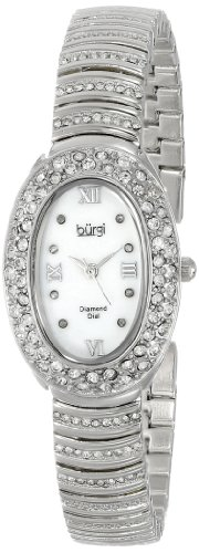 Burgi Women's BUR070SS Diamond Oval Quartz Bracelet Watch