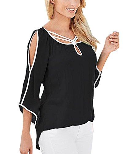 Donna Blusa Shirt Estive 4 Casual Colore Sottile Camicia Plain Sciolto Senza Elegante Irregolare Spalline Solido Blouses T Nero 3 Tops Manica 8f68prxwq