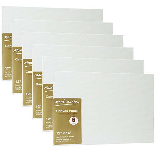 Mont Marte Canvas Panel (pack of 6), 12 X 16 inches, Canvas Panel Great for Students to Professional Artists