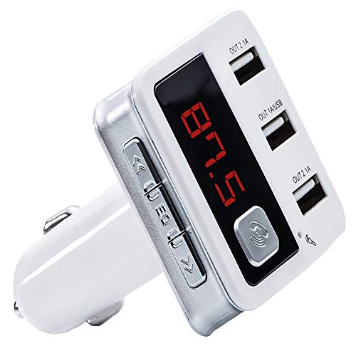 Wireless Radio Bluetooth FM Transmitter Car Kit Quick Charging Triple USB MP3/AUX Input LED Display Compatible with All Smart Phones and Trending Music Apps As YouTube Spotify Hands-Free Calling from VIB