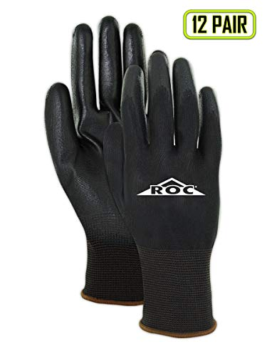 MAGID Polyurethane Coated Gloves, Polyester Lined Fiber, Touch Screen, Black, Size 6 (XS), 12-Pair