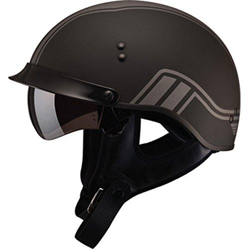 (GMAX GM65 Mens Full Dress Half Face Motorcycle Street Helmet - Twin Flat Black/Silver X-Large)