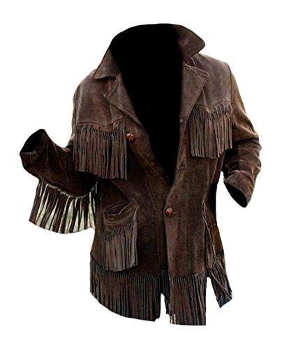 Bestzo Men's Western Cowboy Fringed Coat Suede Leather Jacket Brown L