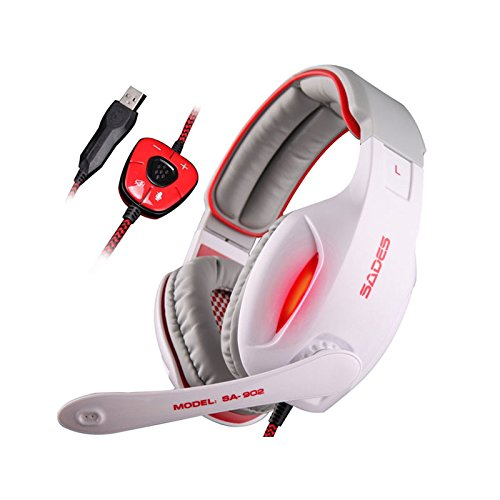 Winke 3.5mm HIFI Driver 7.1 USB Stereo Noise Cancelling Headphones Headband Surround Sound Effect Professional Over-Ear Gaming Headset with Microphone for PC Gamers Laptop