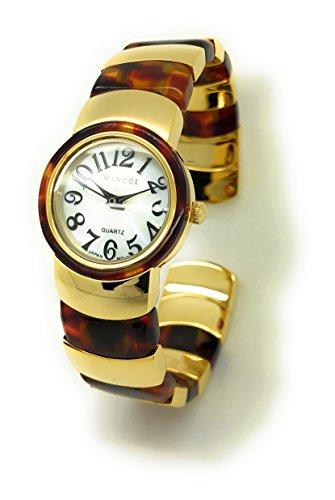 Ladies Acrylic and Gold Metal Bangle Cuff Fashion Watch Pearl Dial Wincci (tortoise (Pearl Dial Bangle Watch)