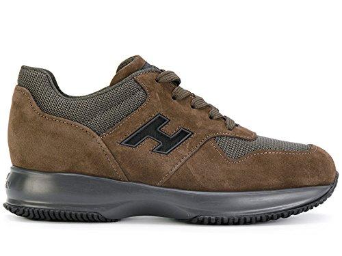 Hogan Mens Hxm00n0y720hjk0ypf Sneakers In Pelle Scamosciata Marrone