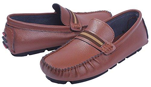 Talon Mélangee à Matière Homme Cuir bateau Pu Brun Bas Shoes AgeeMi Chaussures wx60gpqfXx